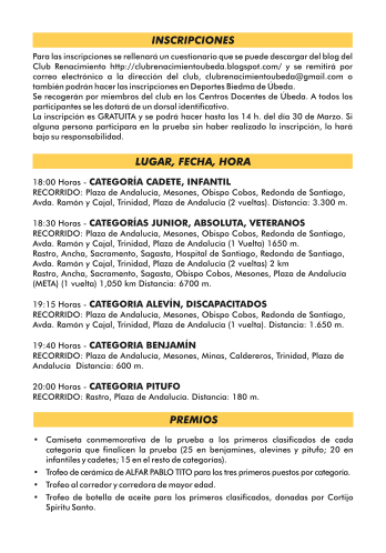 Horarios, recorridos XXXIII carrera EL VIEJO, 5 abril