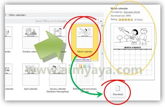Gambar: Memilih template March calendar sebagai kalendar bulanan yang akan digunakan