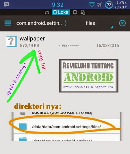 Gambar tutorial direktori dan file cara mengambil wallpaper android yang sedang digunakan (rev-all.blogspot.com)