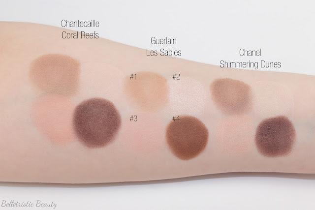 Guerlain Les Sables 15 Ecrin 4 Colors Quad Eyeshadow Palette comparison swatches, Kiss Kiss Collection, Fall 2014