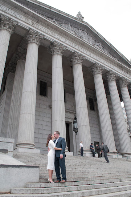 City Hall NYC Real Romance formals on courthouse steps