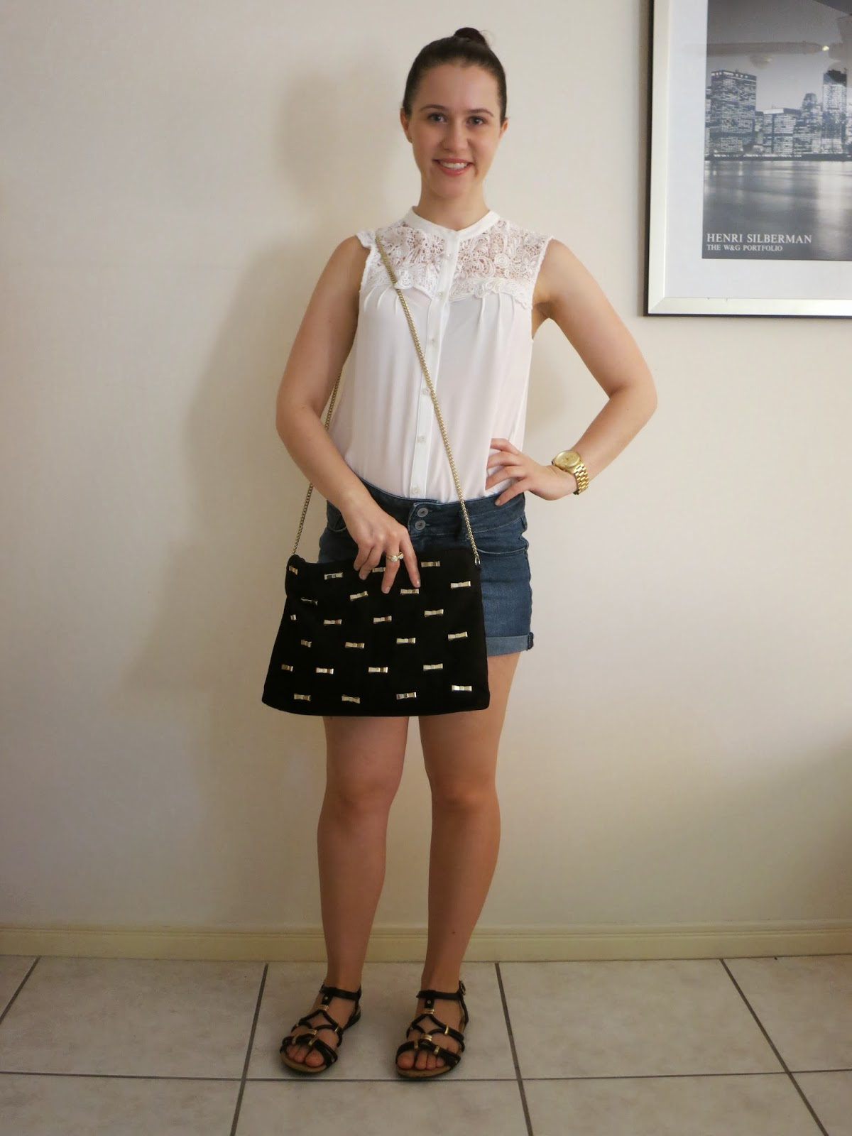 everyday outfit, college outfit, university outfit, cream sheer blouse with lace detailing, high neck blouse, denim high waisted shorts, how to style denim high waisted shorts