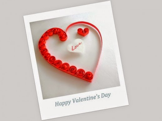 paper quilling card for Valentine's Day