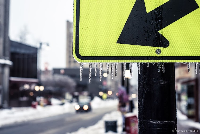 Portland, Maine Winter Ice on Yellow Sign on Congress Street photo by Corey Templeton