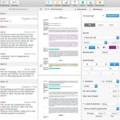 Kommentare, unscharf gemachter Text, Auswahl für Layout