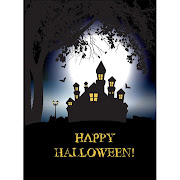 2. Free Vector Spooky Halloween background with haunted house