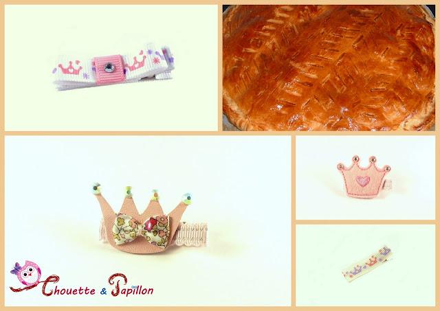 barrettes enfants, anti-glisse couronne princesses, galette des rois