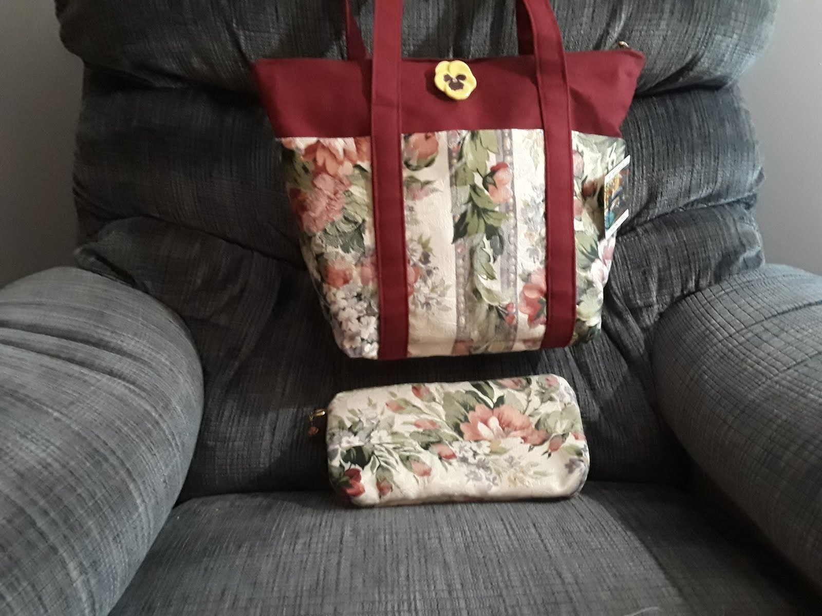 Tapestry on Burgundy Tote