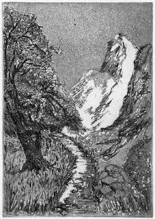 Roswitha Albrecht: Im Gebirge, Radierung