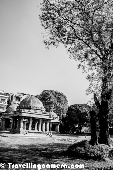 Last weekend, we had a meeting at Hauz Khas with some of the old friends and thought of exploring the ruins around Hauz Khas Village Market. This Photo Journey will take you through various ruins around this campus and a huge water tank or Lake. Let's start this Black and White Photo Journey...In the 1980s Hauz Khas Village was developed as an upper class residential cum commercial area in the metropolis of South Delhi, India. It is now a relatively expensive tourist cum commercial area with numerous art galleries, upscale boutiques and restaurant. Swans and ducks are among the attractions at Hauz Khas Lake - which is part of the attraction to visitors. During this recent visit to Hauz Khas Village, we saw various other birds around the lake. We shall be sharing a separate Photo Journey on birds from Hauz Khas Lake in South Delhi !!!Three pavilions inside the Tomb ... Hauz Khas Village has notable structures built by Firuz Shah on the eastern and northern side of the reservoir consisted = Madrasa (Islamic School of Learning), the small Mosque, the Main tomb for himself and six domed pavilions in its precincts...This Photograph shows North-South arm of the Madrasa and Mosque overlooking the reservoir...Hauz Khas Village Complex in South Delhi houses a water tank, an Islamic seminary, a mosque, a tomb and pavilions built around an urbanized village. It was part of Siri, the second medieval city of India of the Delhi Sultanate of Allauddin Khilji Dynasty (1296–1316). The etymology of the name Hauz Khas in Urdu language is derived from the words 'Hauz': 'water tank' (or lake) and 'Khas':'royal'- the 'Royal tank'. The large water tank or reservoir was first built by Khilji to supply water to the inhabitants of SirThe Hauz Khas village which was known in the medieval period for the amazing buildings built around the reservoir drew a large congregation of Islamic scholors and students to the Madrasa for Islamic education. A very well researched essay titled 'A Medieval Center of Learning in India: The Hauz Khas Madrasa in Delhi' authored by Anthony Welch of the University of Victoria, Victoria, British Columbia, refers to this site as 'far and away the finest spot in Delhi not in the ingenuity of its construction and the academic purpose to which it was put but also in the real magic of the place'.Currently Hauz Khas village retains not only the old charm of the place but has enhanced its aesthetic appeal through the well manicured green parks planted with ornamental trees all around with walk ways... The tank itself has been reduced in size and well landscaped with water fountains. Hauz Khas village structure that gloriously existed in the medieval period was modernized in mid 1980's presenting an upscale ambience attracting tourists from all parts of the world. The village complex is surrounded by Safdarjung Enclave, Green Park, South Extension, Greater Kailash. There are some of the India's most prestigious institutes situated in the neighborhood including Indian Institute of Technology, Delhi, Indian Institute of Foreign Trade, National Institute of Fashion Technology, and All India Institute of Medical Sciences.Here is a Photograph showing Pavilions adjoining the courtyard.Madrasa was one of the leading institutions of Islamic learning in the Delhi Sultanate. It was also considered the largest and best equipped Islamic seminary anywhere in the world. There were three main Madrasa's in Delhi during Firuz Shah's time. One of them was the Firuz Shahi madrasa at Hauz Khas. After the sack of Baghdad, Delhi became the most important place in the world for Islamic education. The village surrounding the Madarsa was also called Tarababad (city of joy) in view of its affluent and culturally rich status, which provided the needed supporting sustenance supply system to the MadrasaSeveral buildings (Mosque and madrasa) and tombs were built overlooking the water tank or lake. Firuz Shah's tomb pivots the L–shaped building complex which overlooks the tank. More information about Hauz Khas Village can be seen at http://en.wikipedia.org/wiki/Hauz_Khas_Complex