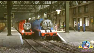 Thomas and James the tank engine traveling in direction of Knapford platform Gordon the tank engine