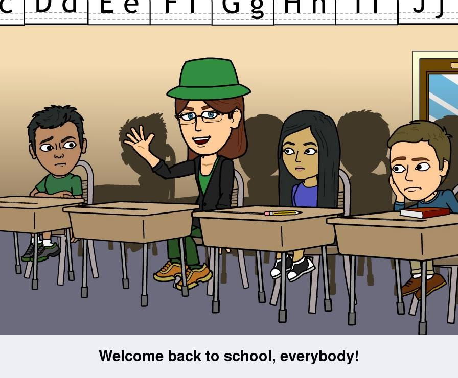 "My Bitstrips comics avatar sits at a student's desk surrounded by other students in an elementary school classroom. The caption reads, ""Welcome back to school, everybody!"""