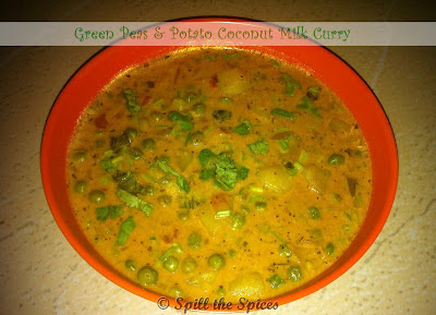 Green Peas & Potato Coconut Milk Curry | Spill the Spices