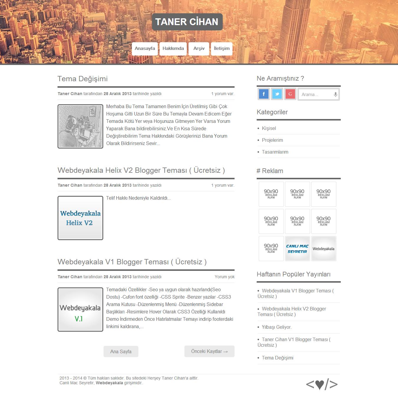 Blogger Taner Cihan V1 Blog Teması