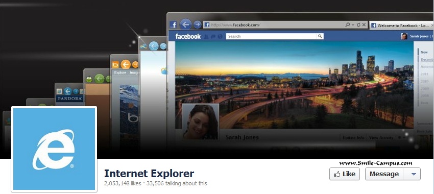 Facebook Fan Page of Internet Explorer Web Browser