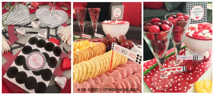 gift bags, heart shaped coasters, free valentines printables, cheese and crackers tray, m&ms