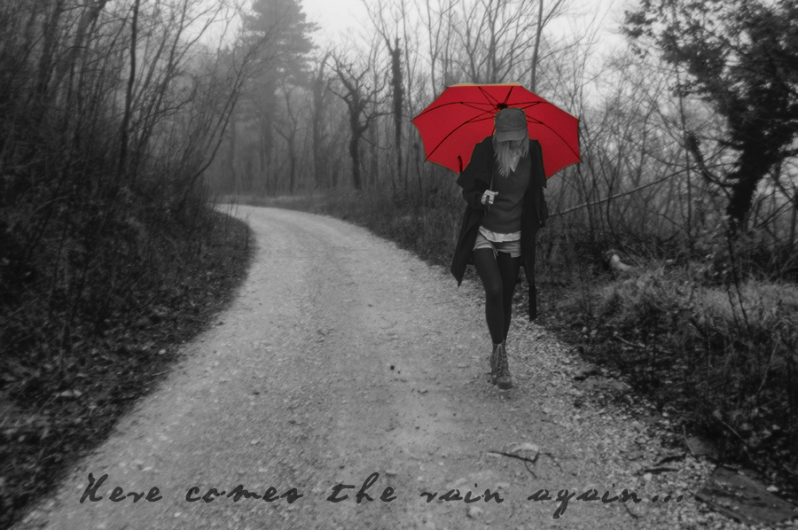 For Peet's Sake blog black and white photography red umbrella girl walking in a forest in rain