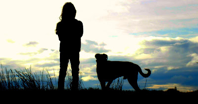 Sunset photo mans best friend dog and girl