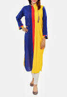 Pakistani Dress Dark Blue-Yellow Mixed Cotton Kurta with Crystal Buttons on Collar by Grapes