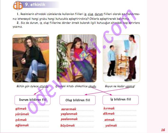 Sınıf türkçe çalışma kitabı sayfa 16 31 32 35 36 'nın