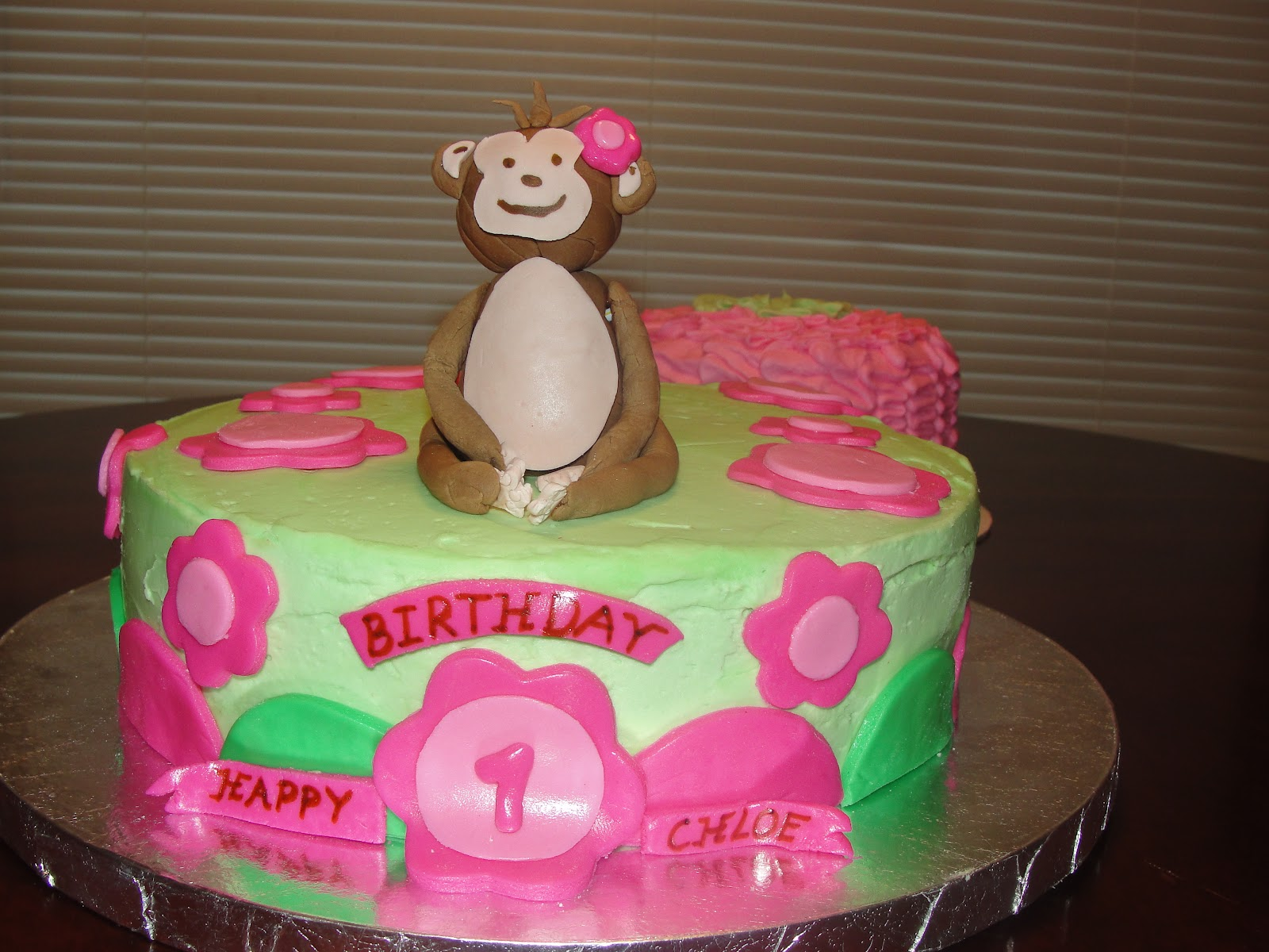 Kt Kakes Pink And Green Monkey First Birthday Cake And Smash Cake
