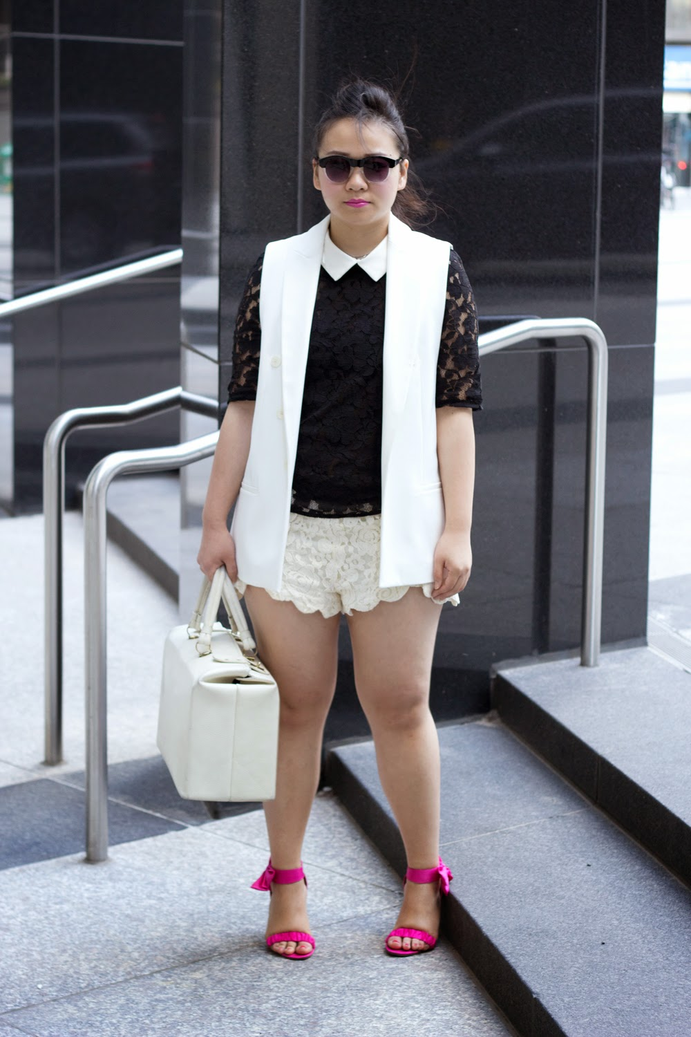 lace-on-lace-spring-look, black-and-white, zara-sleeveless-blazer, lace-top-with-collar