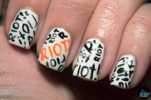 nails, nail art, nail polish, paramore, paramore riot!, riot!, riot, orange, white, black, hey darling polish