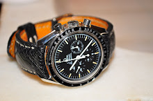 Vincenzo's Oemga Speedmaster on Black Ostrich Leg skin/Mustard Sea Snake lining