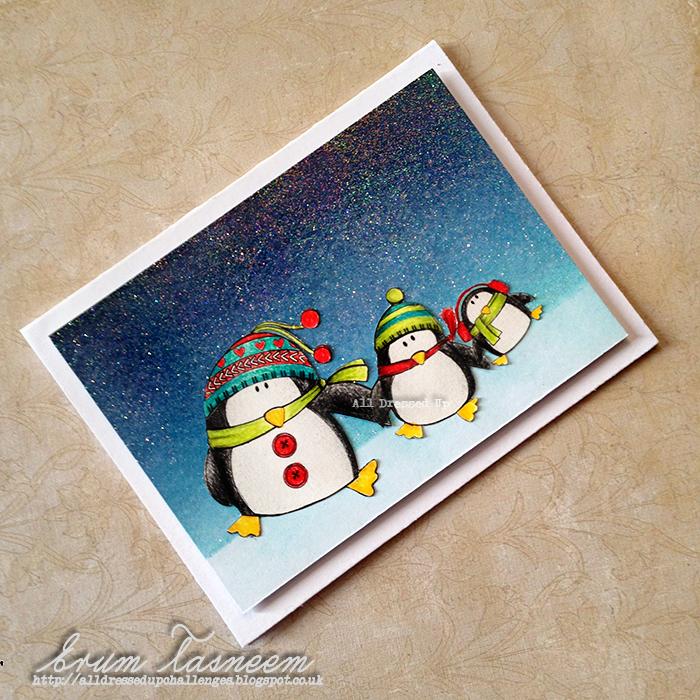all dressed up digi stamp, christmas penguins, sparkly distress ink background