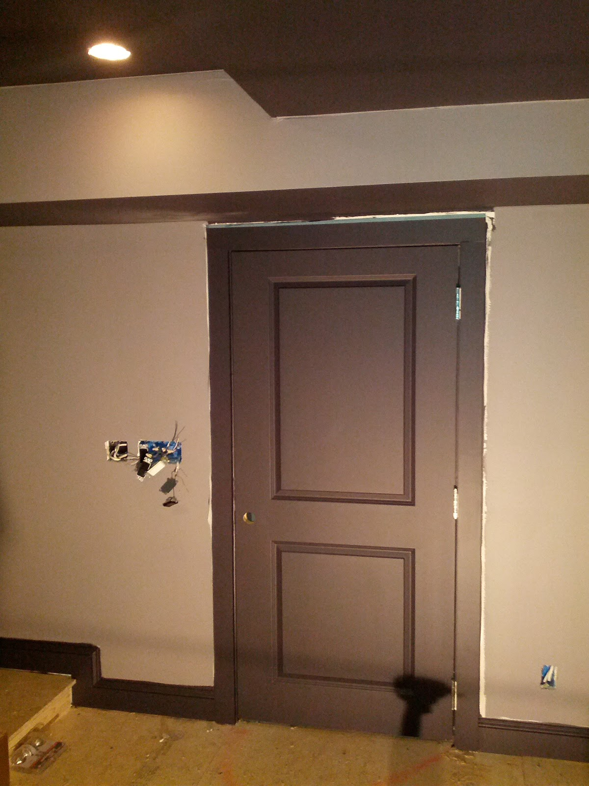 Attirant How To Finish A Basement And Home Theatre: Home Theater Door And Trim  Painted.