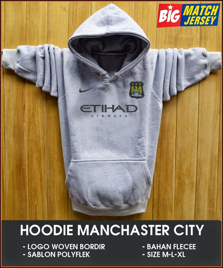 New Hoodie Bola Satu Warna 2014 - 2015 Manchester City Silver
