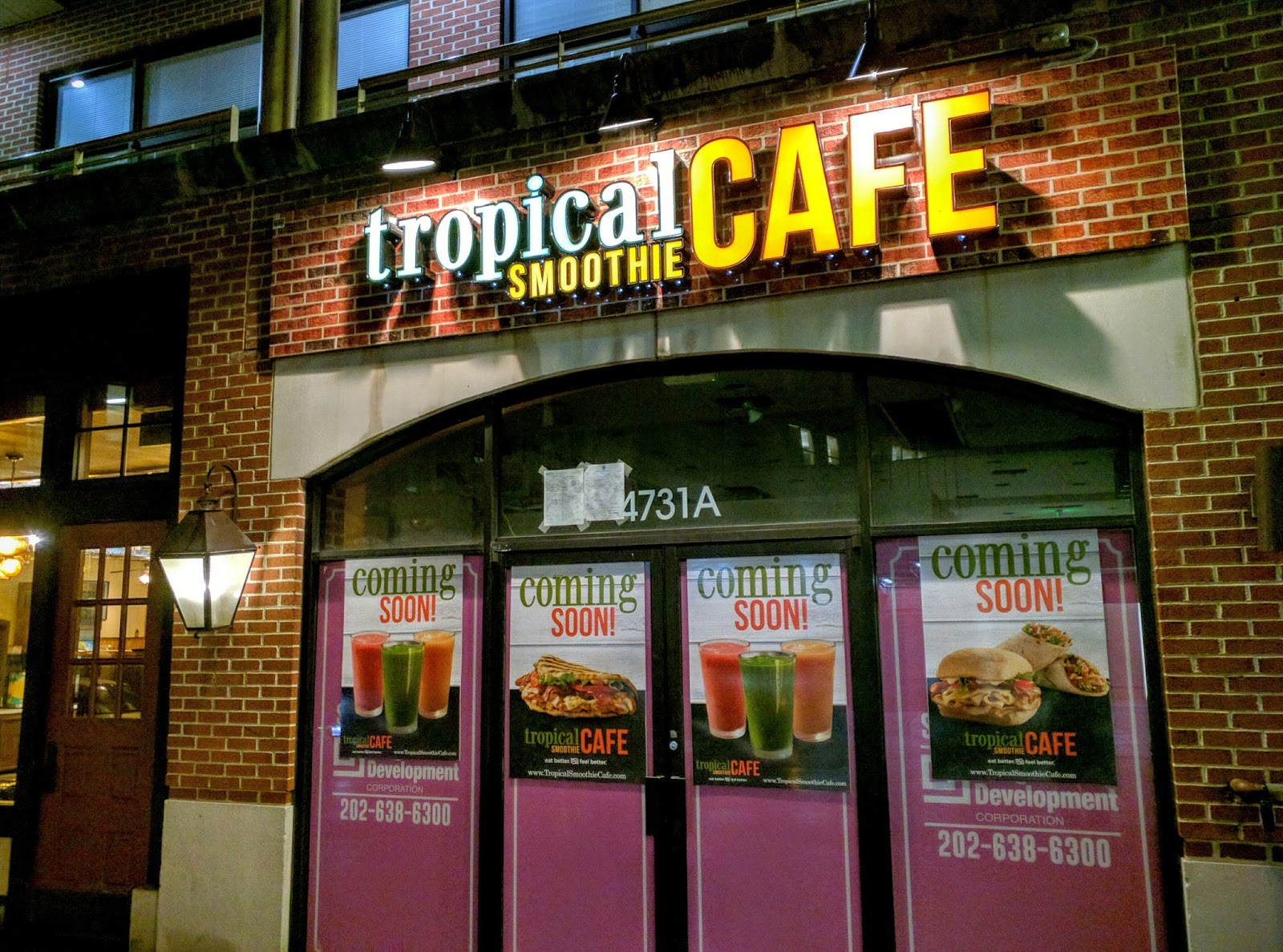 sign installed at tropical smoothie cafe in bethesda photos - Tropical Cafe 2015