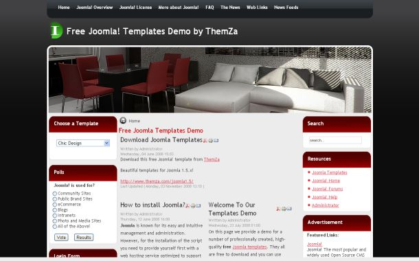 Abstract Red Black Free Joomla 1.5 Theme Template
