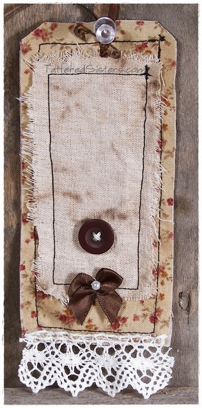 Shabby Prim Fabric Hang Tag