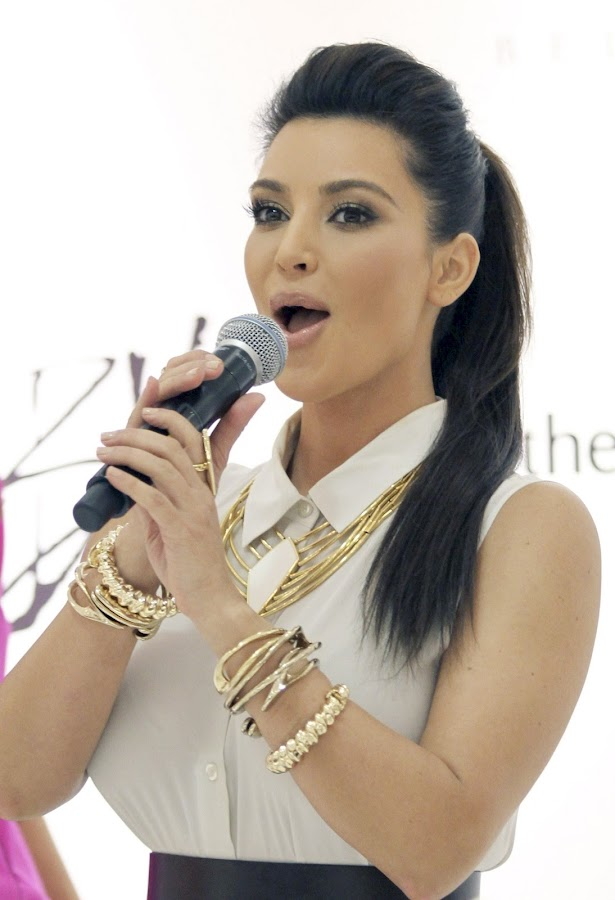 KIM KARDASHIAN  gives a little speech at Belle Noel Jewelry Collection Promotion in Toronto