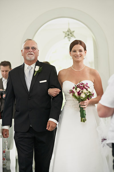 south ferry church wedding: bride and father