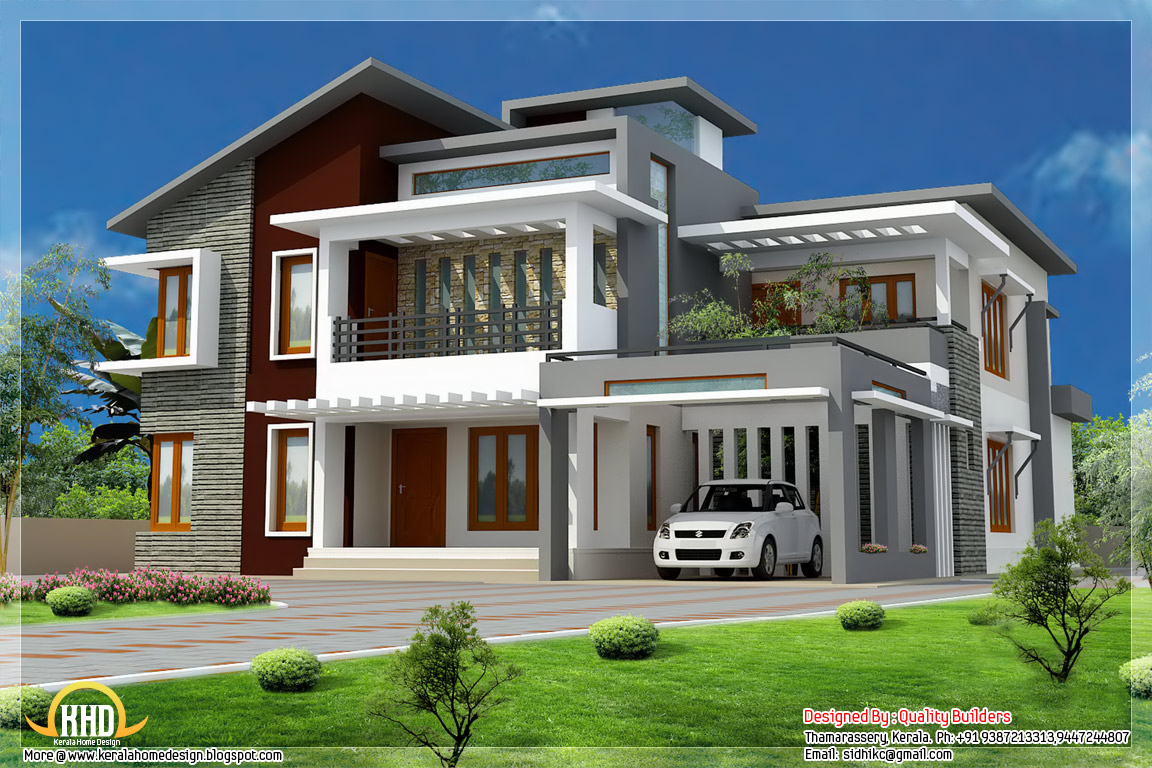 Superb home design contemporary modern style kerala for Modern looking houses