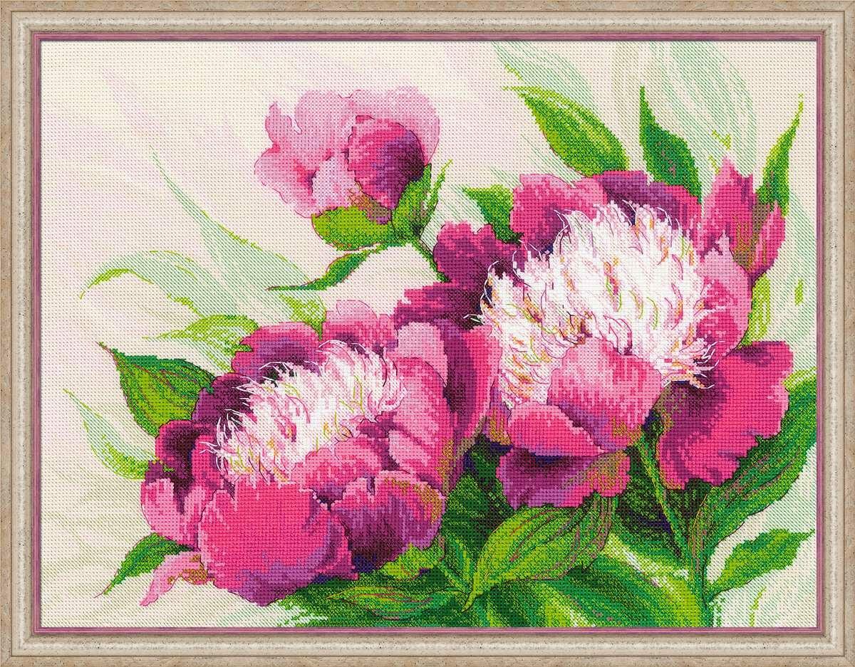 Пион розовый схема вышивки