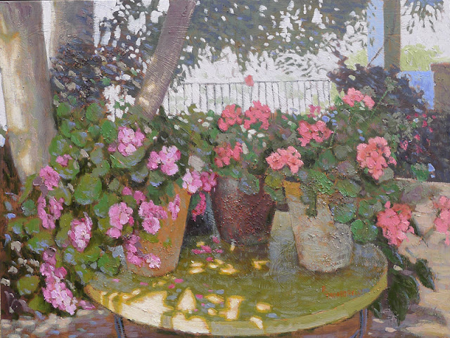 Gerânios em Bubion Espanha -Raquel Taraborelli,Pintura Jardim Impressionista, oil painting impressionist garden, peinture jardin impressionniste