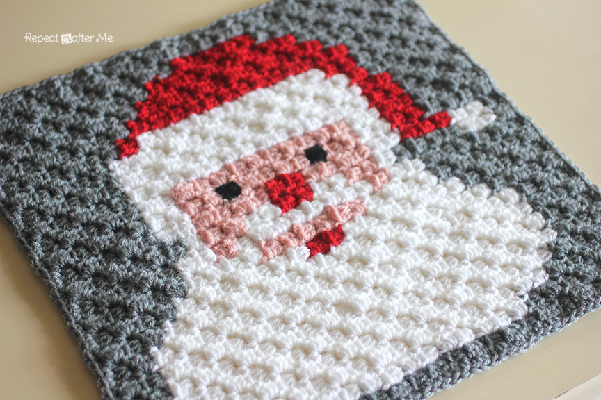 Crochet Santa Pixel Square Repeat Crafter Me