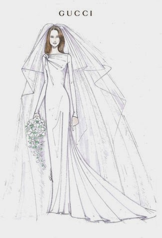 Rysunek żurnalowy - suknia ślubna