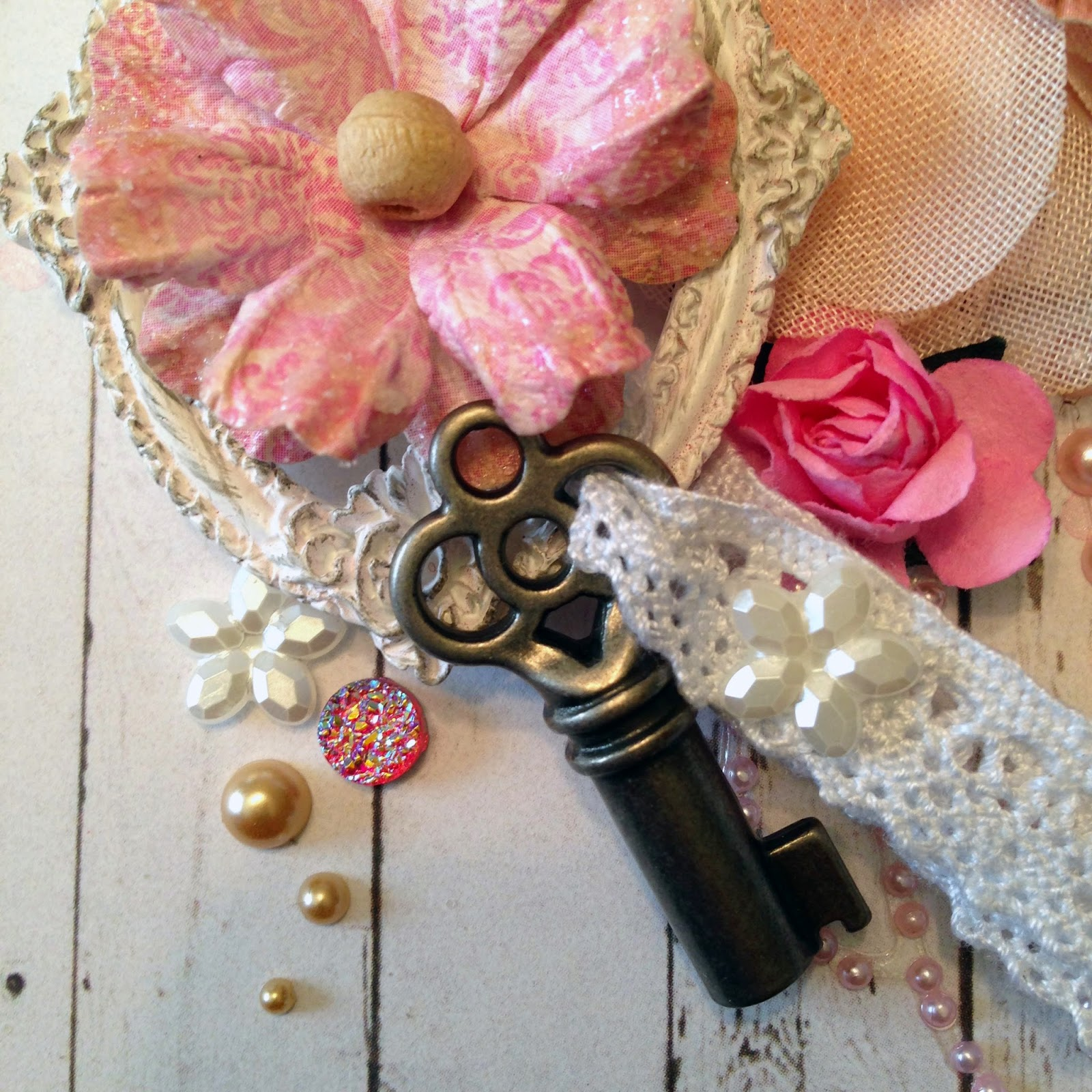 vintage frame, lace and key