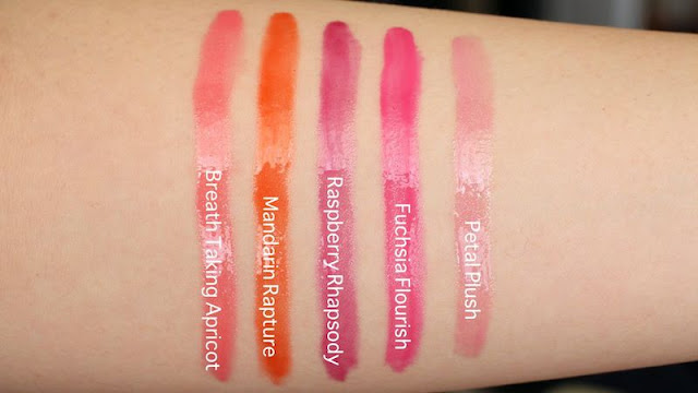 Maybelline Color Elixir Lip Color Swatches in Breath Taking Apricot, Mandarin Rapture, Raspberry Rhapsody, Fuchsia Flourish, Petal Plush