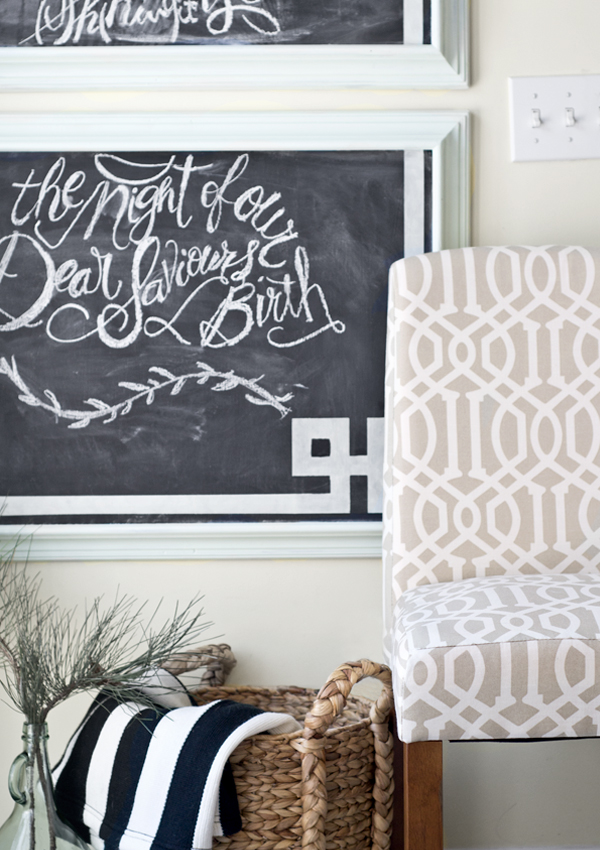 greek key patterned chalkboard