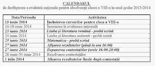 Calendar evaluare nationala 2014