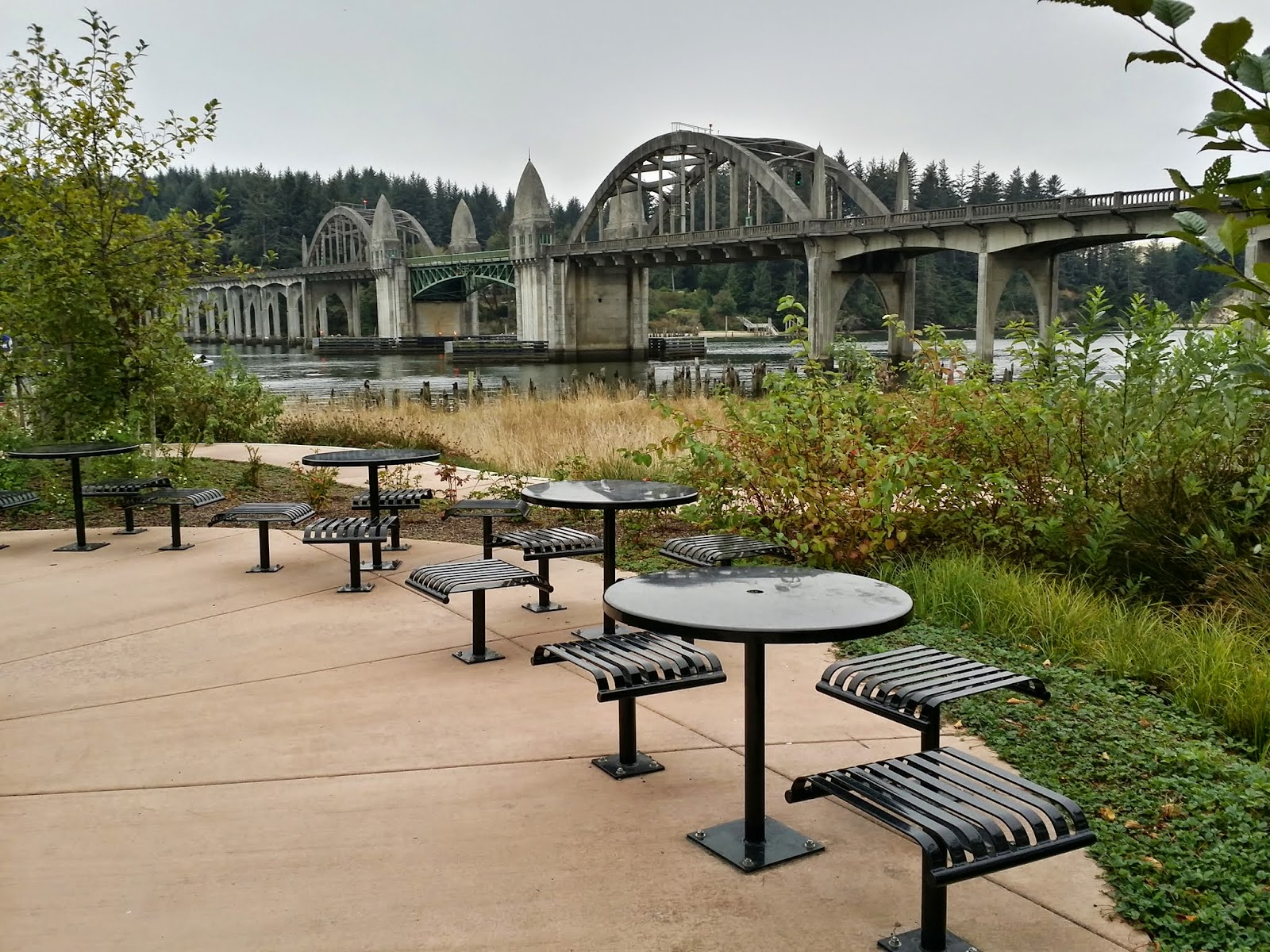 public seating in historic waterfront Florence