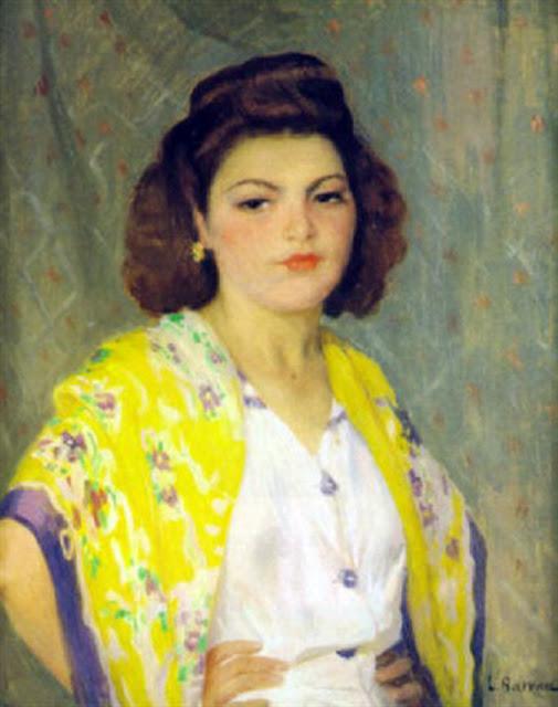 Laureano Barrau Buñol, Mujer con manton amarillo, Pintura española, Pintor Catalán