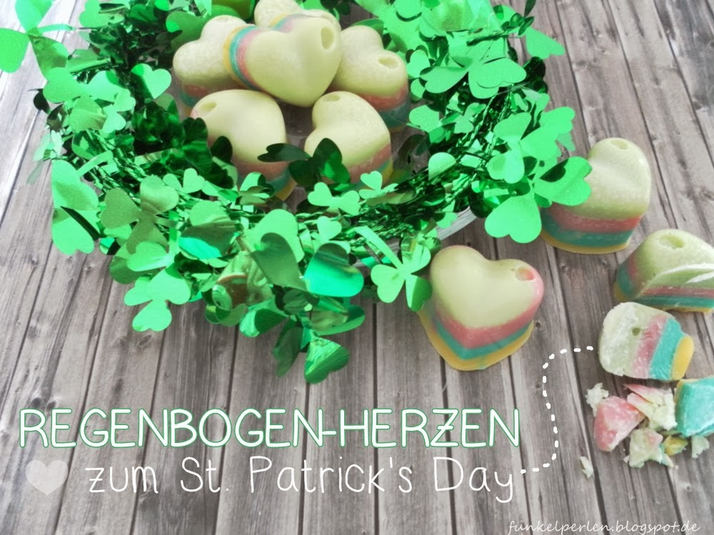 rainbow chocolate hearts for St. Patrick's Day // funkelperlen.blogspot.de
