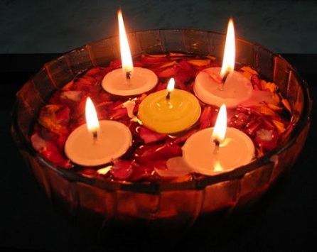 Diwali candles ideas diwali floating candles decorations for Indoor diwali decoration