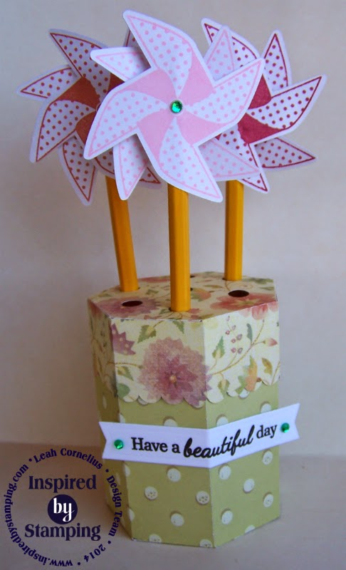 Inspired by Stamping, Leah Cornelius, Swirling Pinwheels stamp set, pencil holder, 3D project